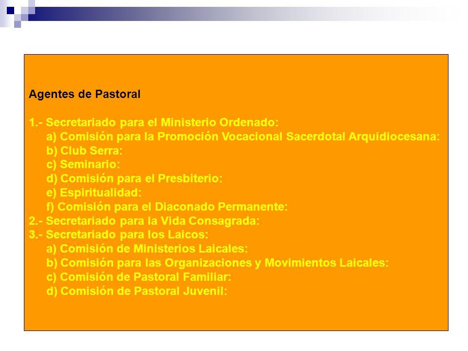 Agentes de Pastoral 1.- Secretariado para el Ministerio Ordenado: a) Comisión para la Promoción Vocacional Sacerdotal Arquidiocesana: