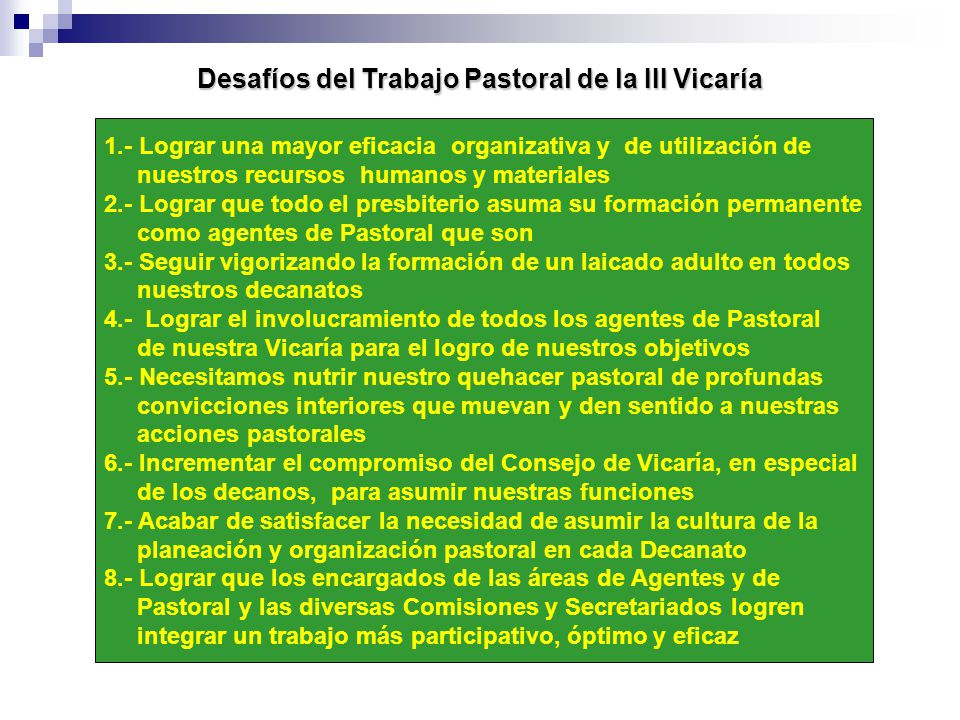 Desafíos del Trabajo Pastoral de la III Vicaría