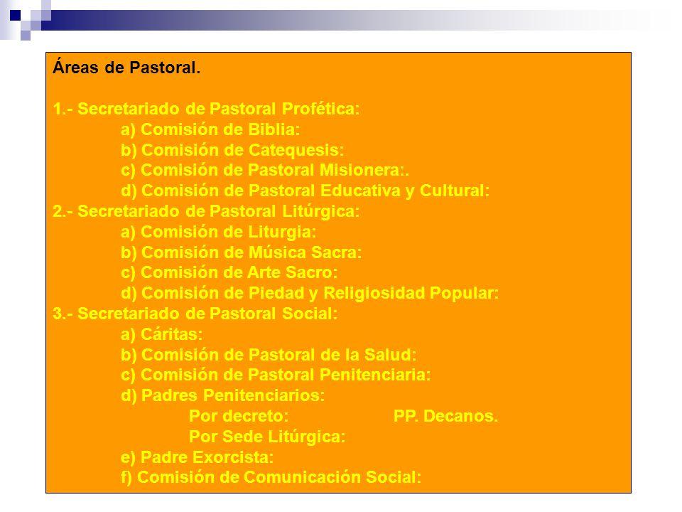 Áreas de Pastoral. 1.- Secretariado de Pastoral Profética: a) Comisión de Biblia: b) Comisión de Catequesis:
