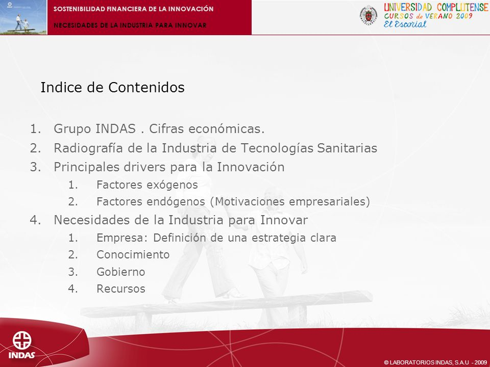 Indice de Contenidos Grupo INDAS . Cifras económicas.