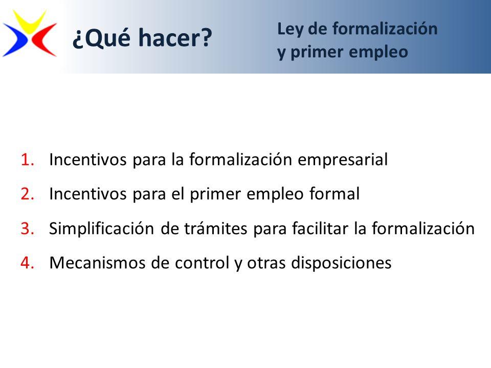 ¿Qué hacer Ley de formalización y primer empleo
