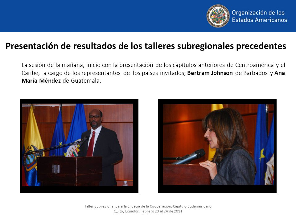 Presentación de resultados de los talleres subregionales precedentes