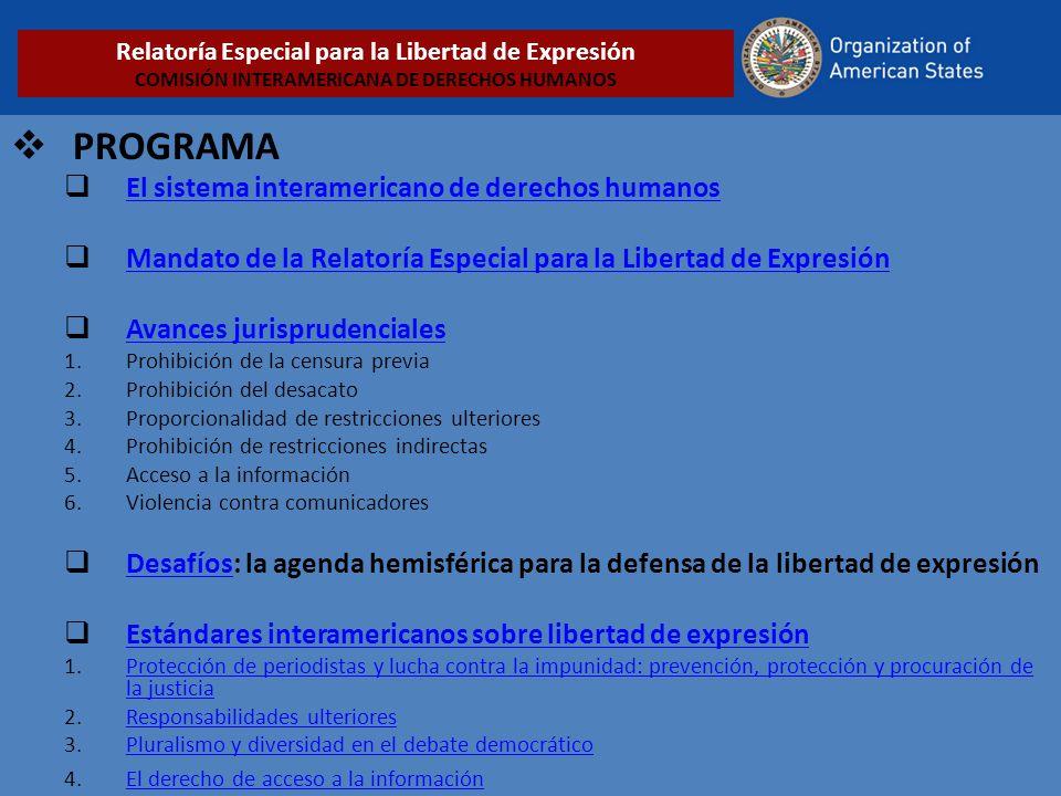 PROGRAMA El sistema interamericano de derechos humanos