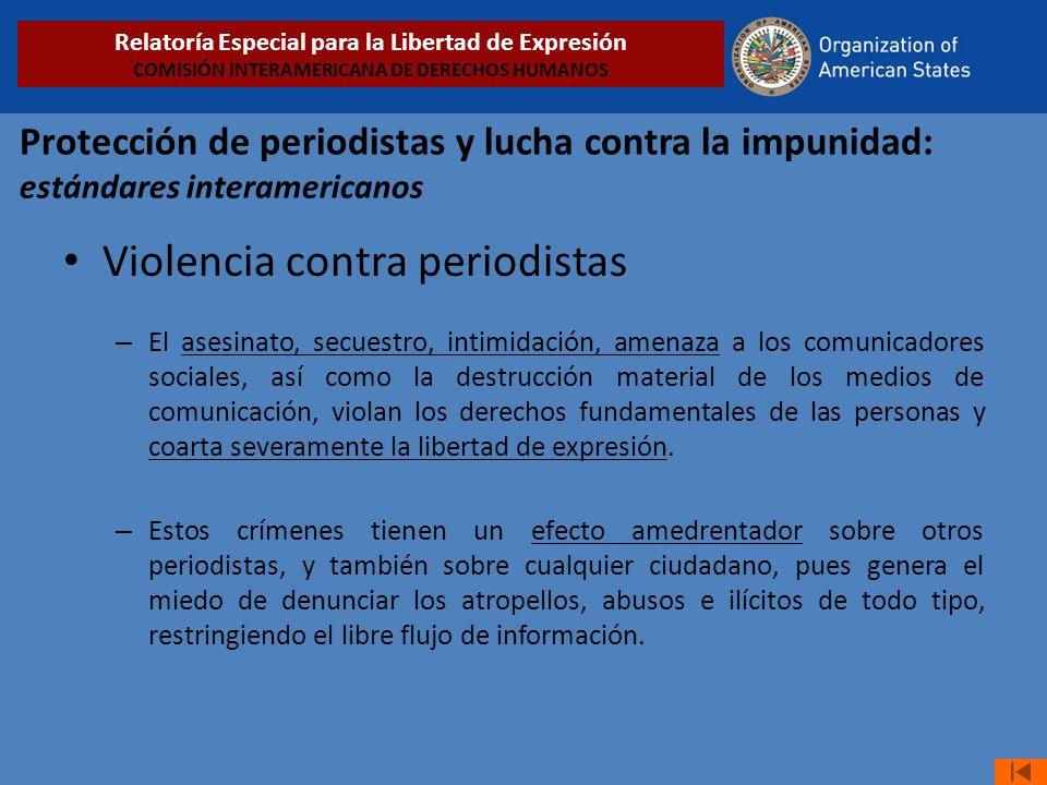 Violencia contra periodistas