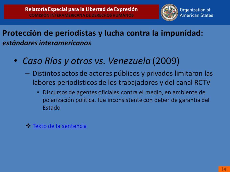 Caso Ríos y otros vs. Venezuela (2009)