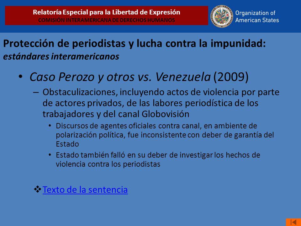 Caso Perozo y otros vs. Venezuela (2009)