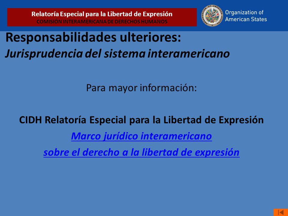 Relatoría Especial para la Libertad de Expresión COMISIÓN INTERAMERICANA DE DERECHOS HUMANOS