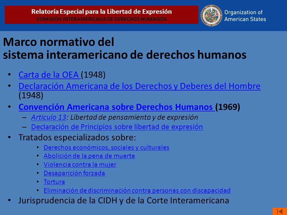 Marco normativo del sistema interamericano de derechos humanos