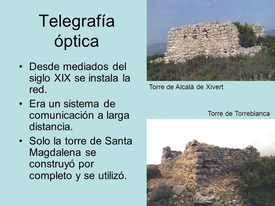 Telegrafía óptica Desde mediados del siglo XIX se instala la red.