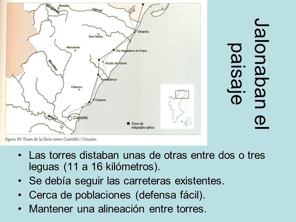 Jalonaban el paisajeLas torres distaban unas de otras entre dos o tres leguas (11 a 16 kilómetros).