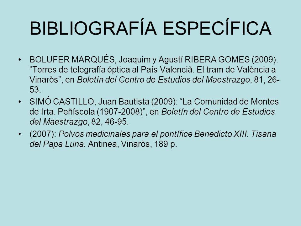 BIBLIOGRAFÍA ESPECÍFICA