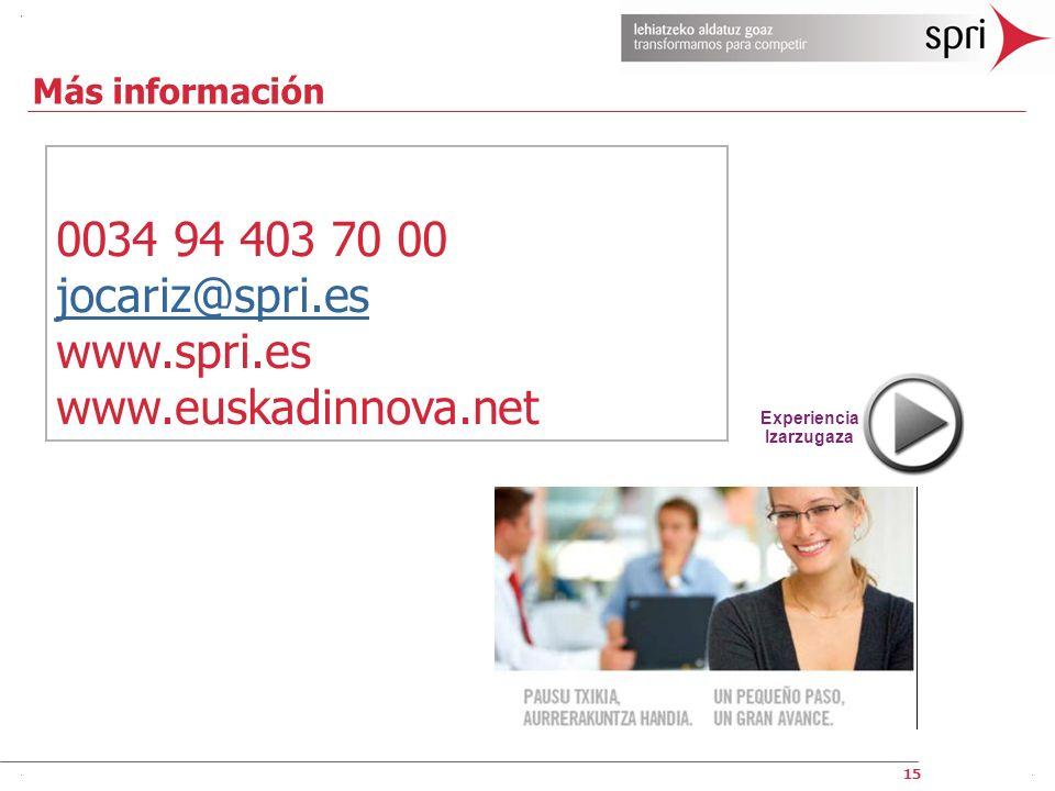 0034 94 403 70 00 jocariz@spri.es www.spri.es www.euskadinnova.net