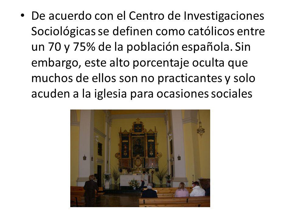 De acuerdo con el Centro de Investigaciones Sociológicas se definen como católicos entre un 70 y 75% de la población española.