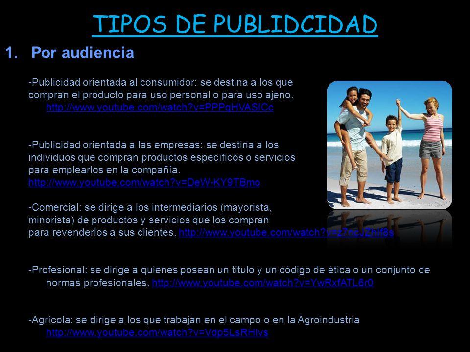 TIPOS DE PUBLIDCIDAD Por audiencia