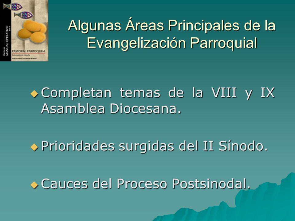 Algunas Áreas Principales de la Evangelización Parroquial