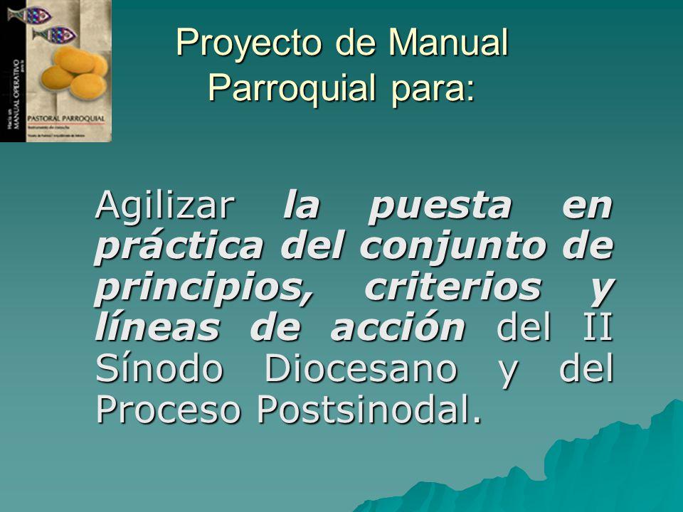 Proyecto de Manual Parroquial para: