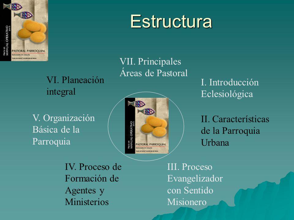 Estructura VII. Principales Áreas de Pastoral VI. Planeación integral