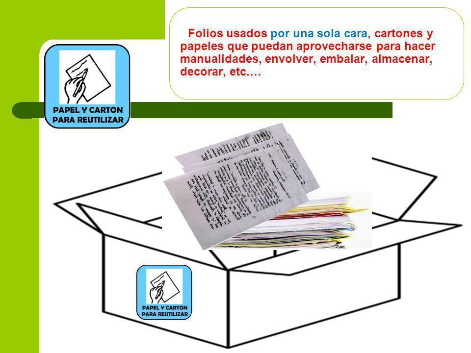 Folios usados por una sola cara, cartones y papeles que puedan aprovecharse para hacer manualidades, envolver, embalar, almacenar, decorar, etc.…