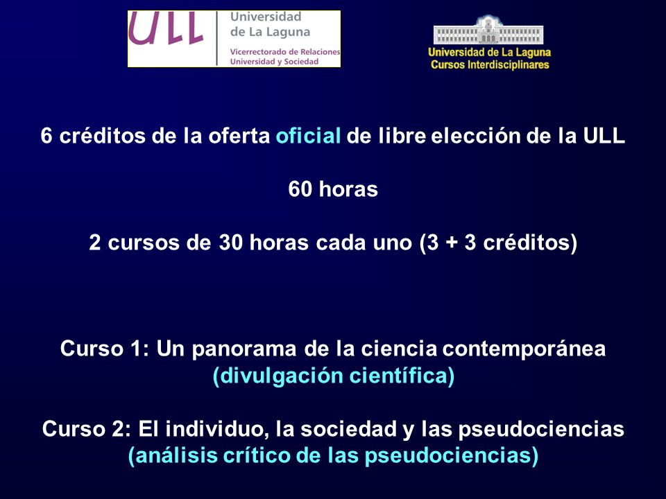 6 créditos de la oferta oficial de libre elección de la ULL 60 horas