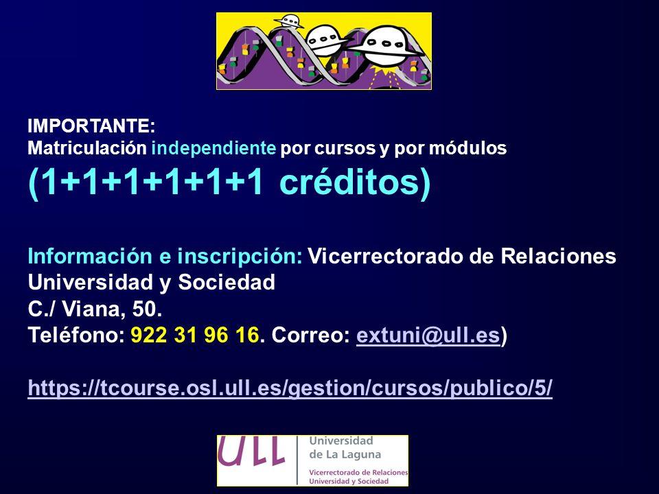 IMPORTANTE: Matriculación independiente por cursos y por módulos. (1+1+1+1+1+1 créditos)