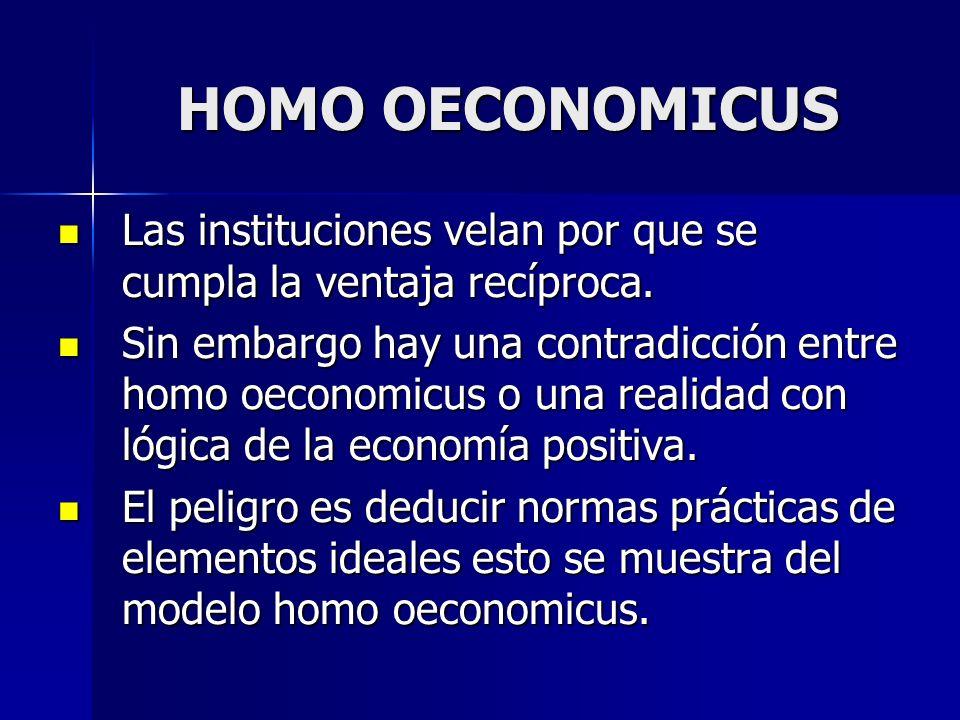 HOMO OECONOMICUSLas instituciones velan por que se cumpla la ventaja recíproca.