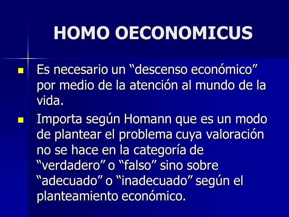 HOMO OECONOMICUS Es necesario un descenso económico por medio de la atención al mundo de la vida.