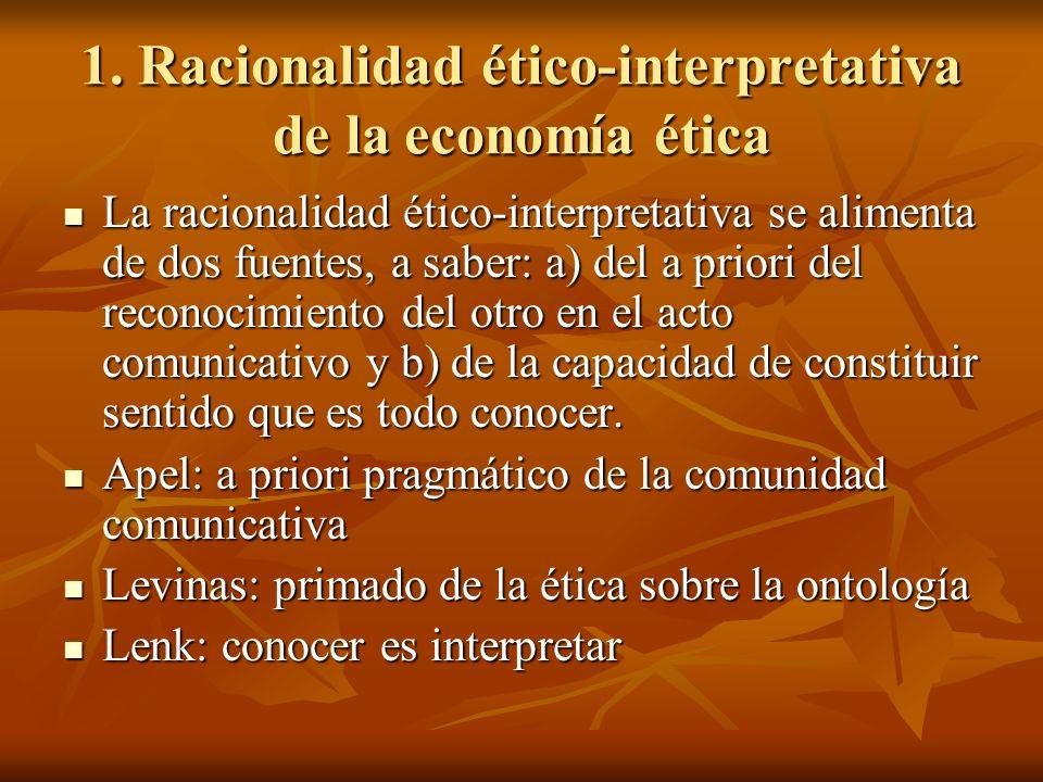 1. Racionalidad ético-interpretativa de la economía ética