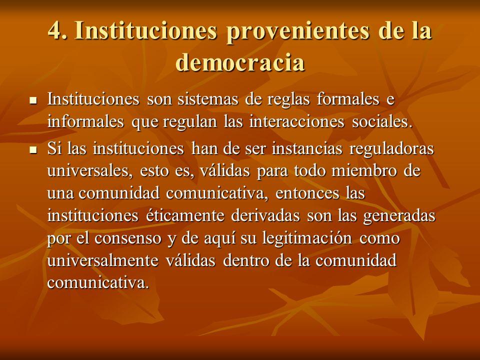4. Instituciones provenientes de la democracia