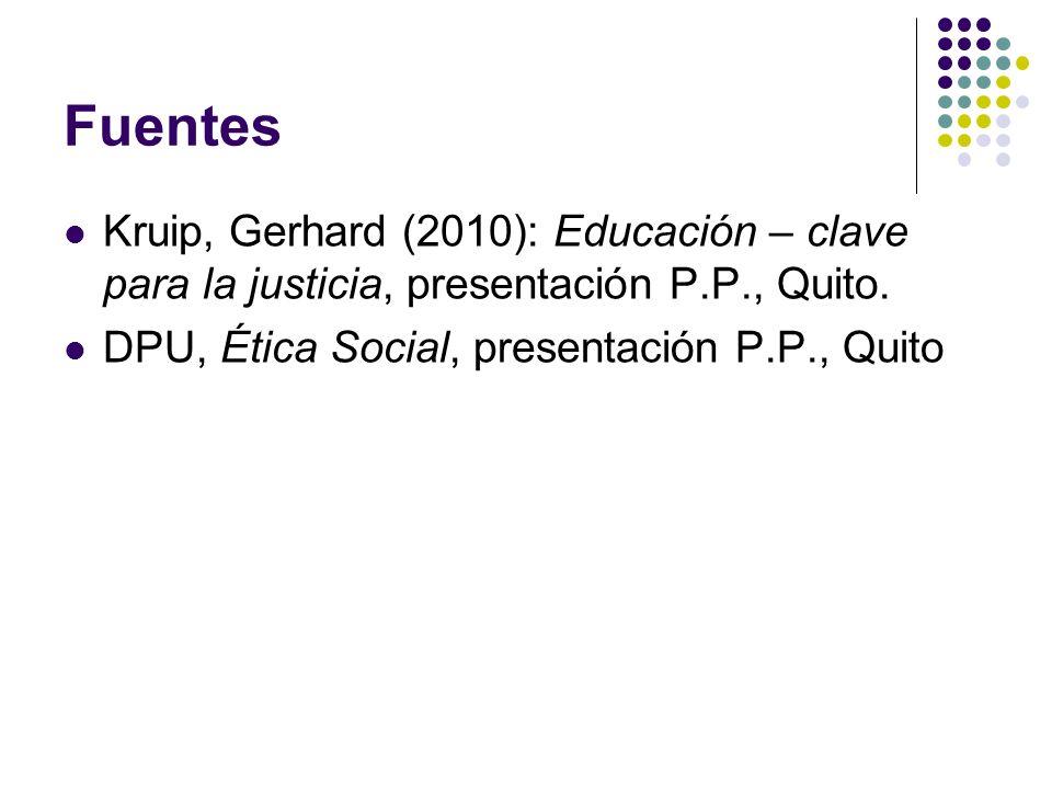 Fuentes Kruip, Gerhard (2010): Educación – clave para la justicia, presentación P.P., Quito.