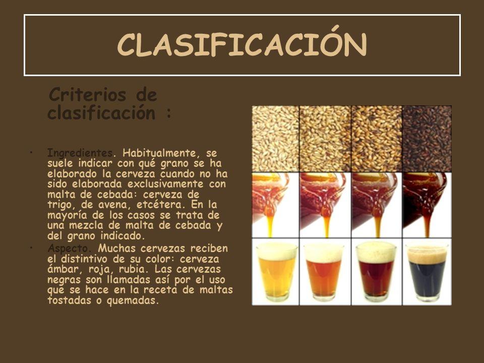 CLASIFICACIÓN Criterios de clasificación :