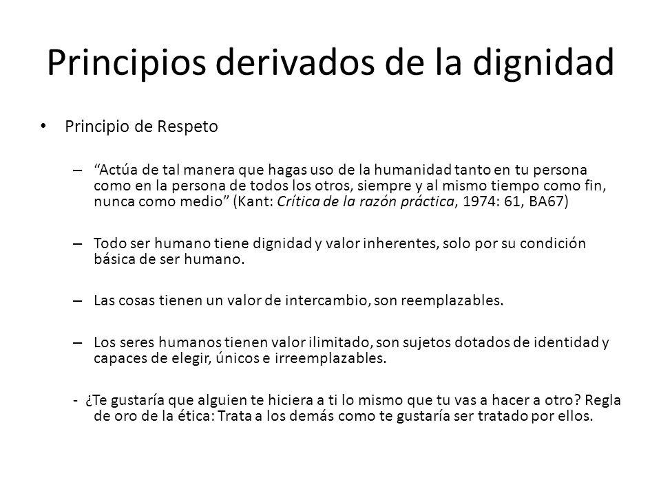 Principios derivados de la dignidad