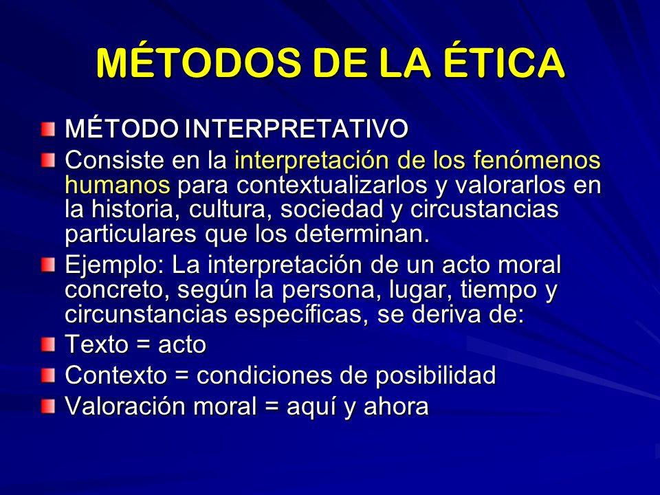 MÉTODOS DE LA ÉTICA MÉTODO INTERPRETATIVO