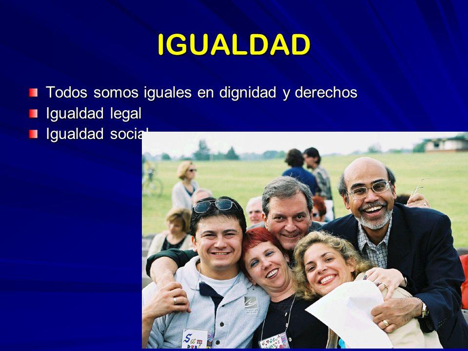 IGUALDAD Todos somos iguales en dignidad y derechos Igualdad legal