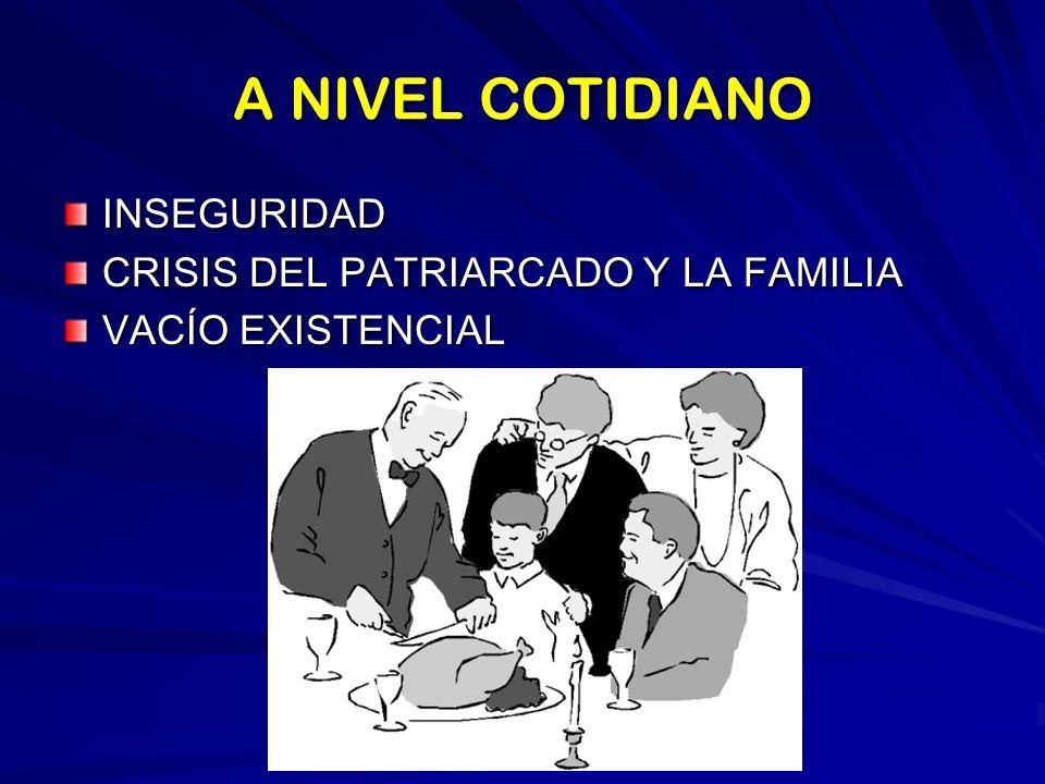 A NIVEL COTIDIANO INSEGURIDAD CRISIS DEL PATRIARCADO Y LA FAMILIA