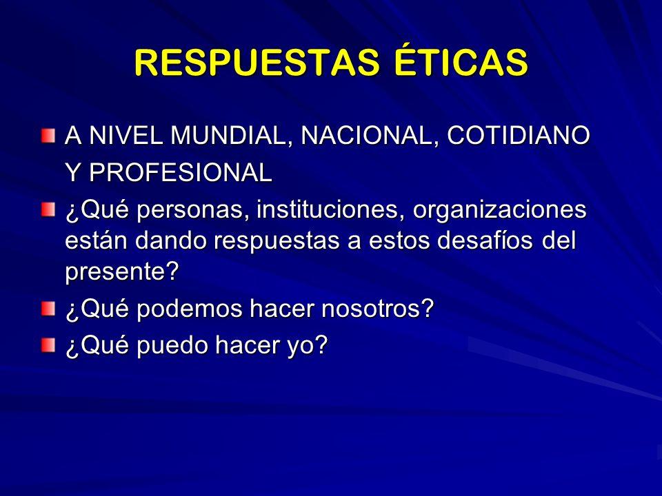 RESPUESTAS ÉTICAS A NIVEL MUNDIAL, NACIONAL, COTIDIANO Y PROFESIONAL