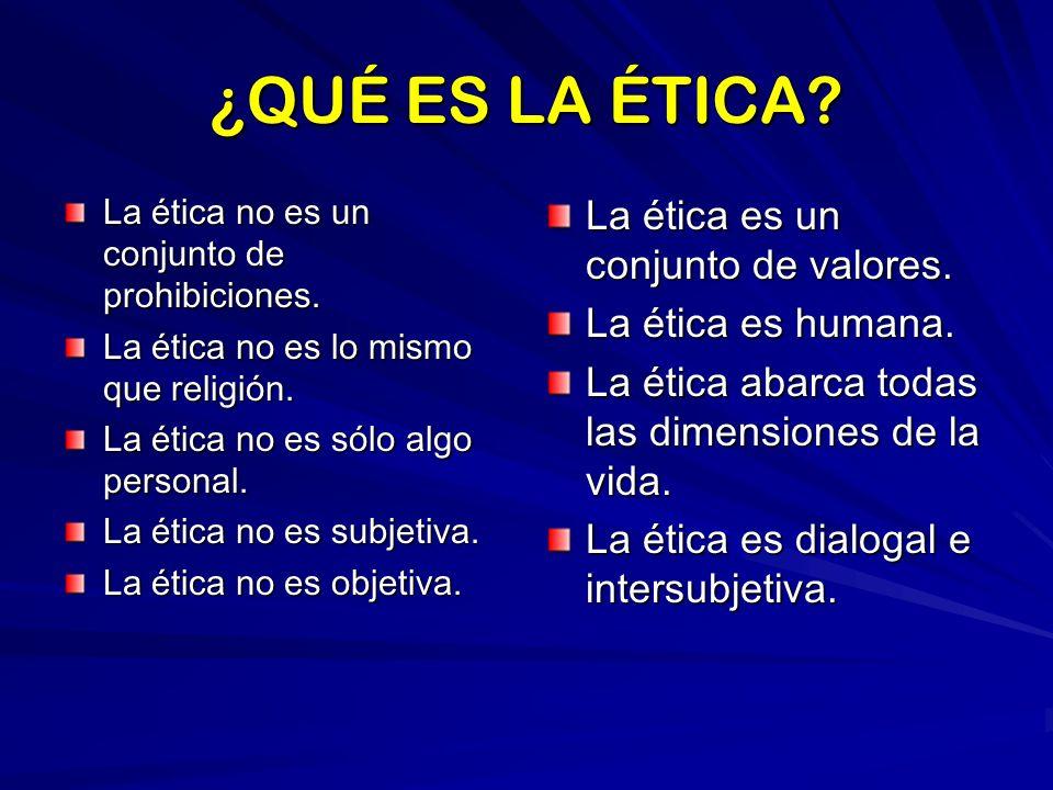 ¿QUÉ ES LA ÉTICA La ética es un conjunto de valores.