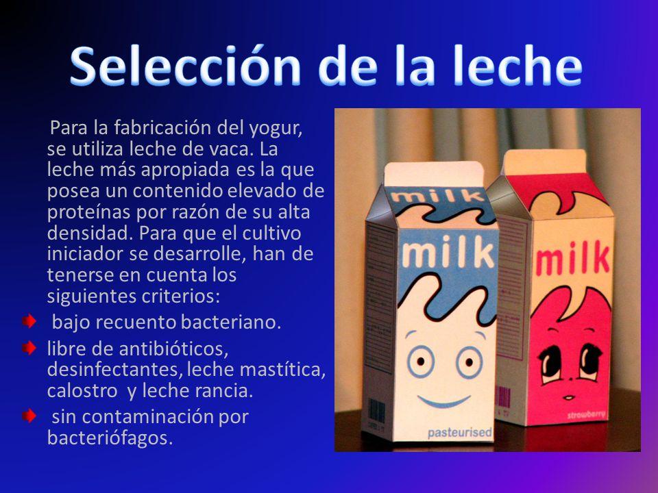 Selección de la leche bajo recuento bacteriano.