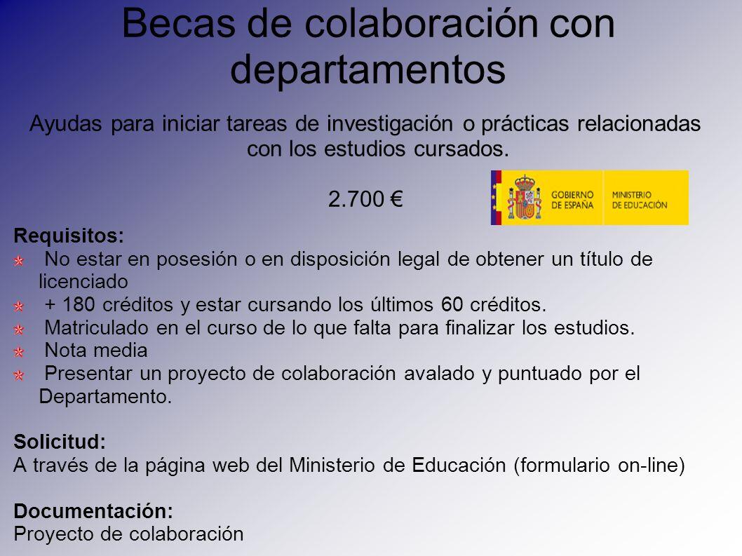 Becas de colaboración con departamentos