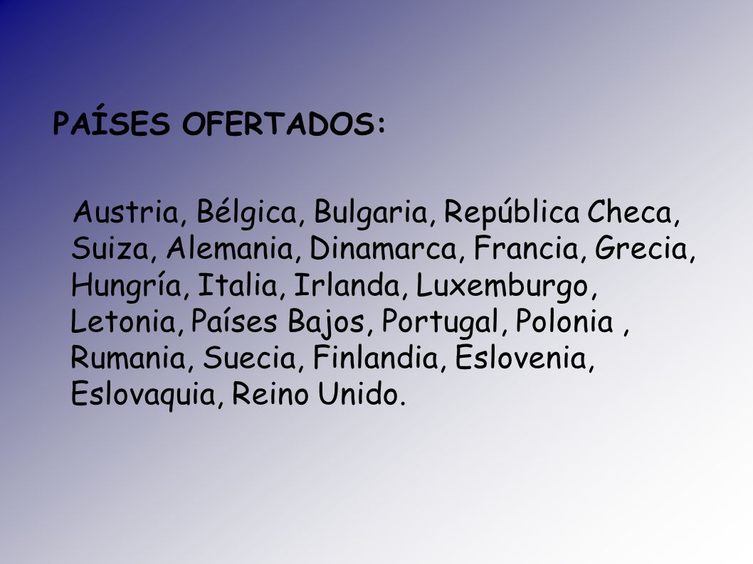 PAÍSES OFERTADOS: