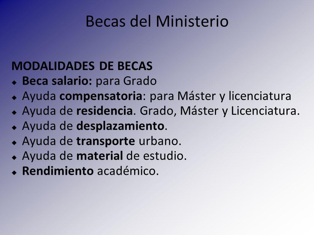 Becas del Ministerio MODALIDADES DE BECAS Beca salario: para Grado