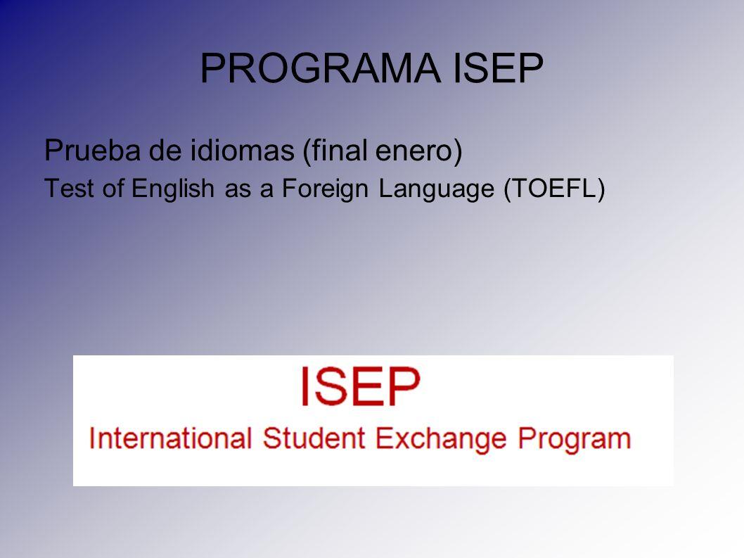 PROGRAMA ISEP Prueba de idiomas (final enero)
