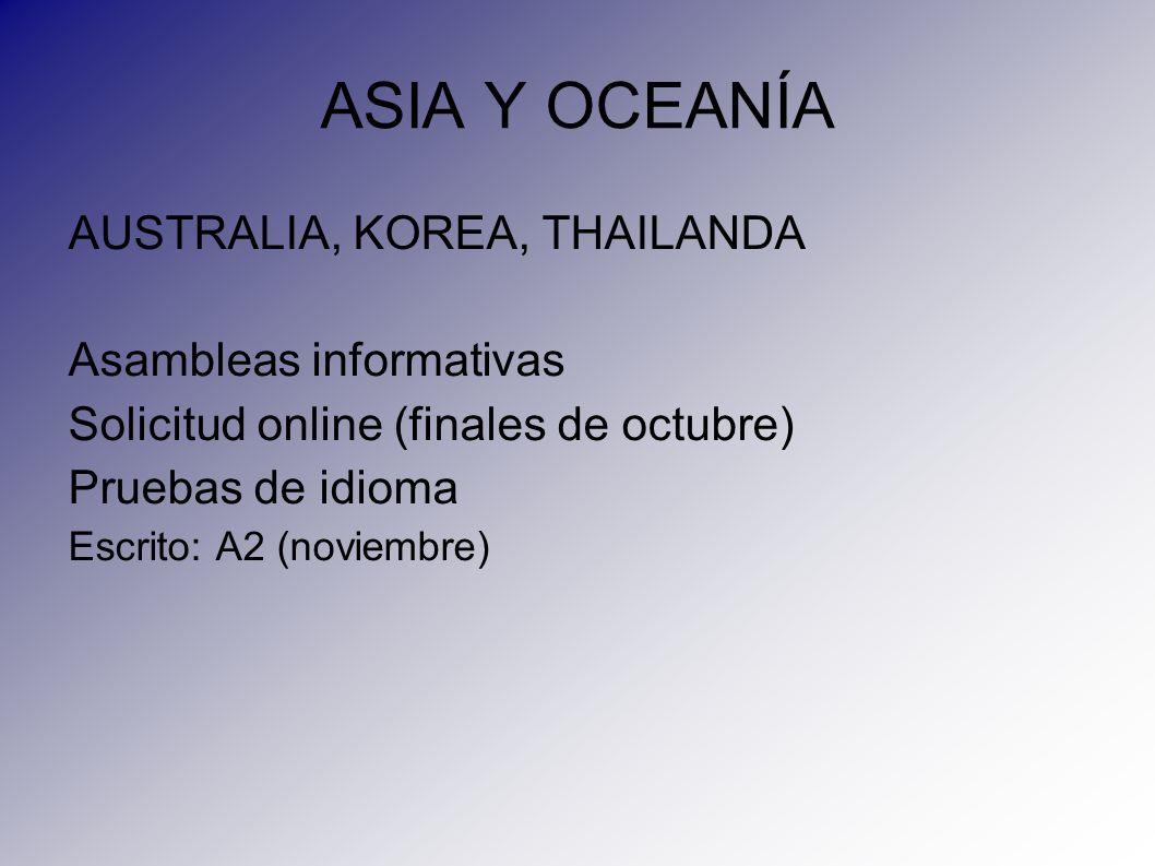 ASIA Y OCEANÍA AUSTRALIA, KOREA, THAILANDA Asambleas informativas