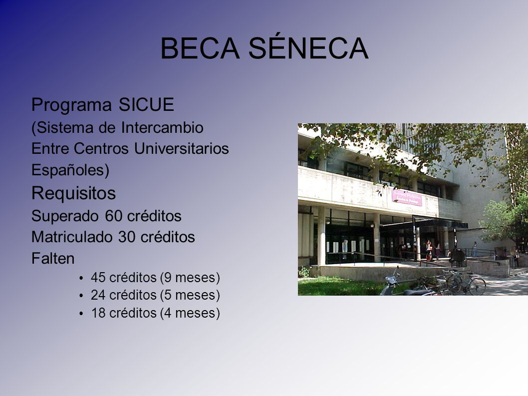 BECA SÉNECA Programa SICUE Requisitos (Sistema de Intercambio