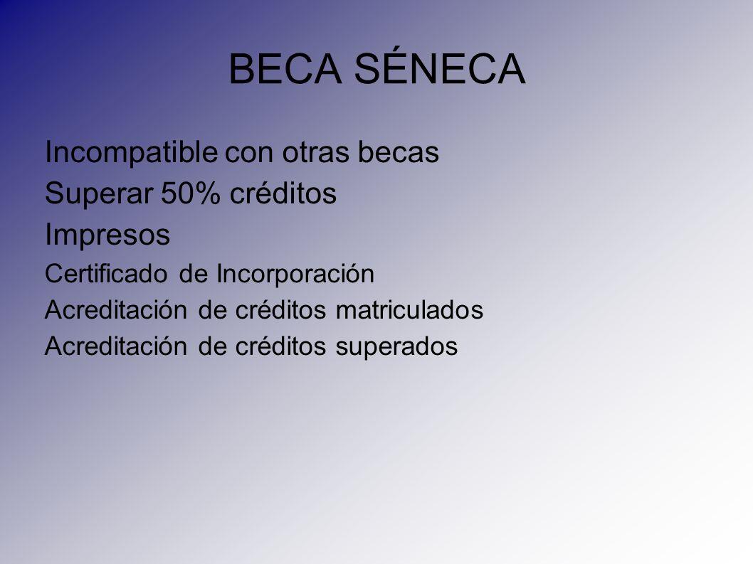 BECA SÉNECA Incompatible con otras becas Superar 50% créditos Impresos