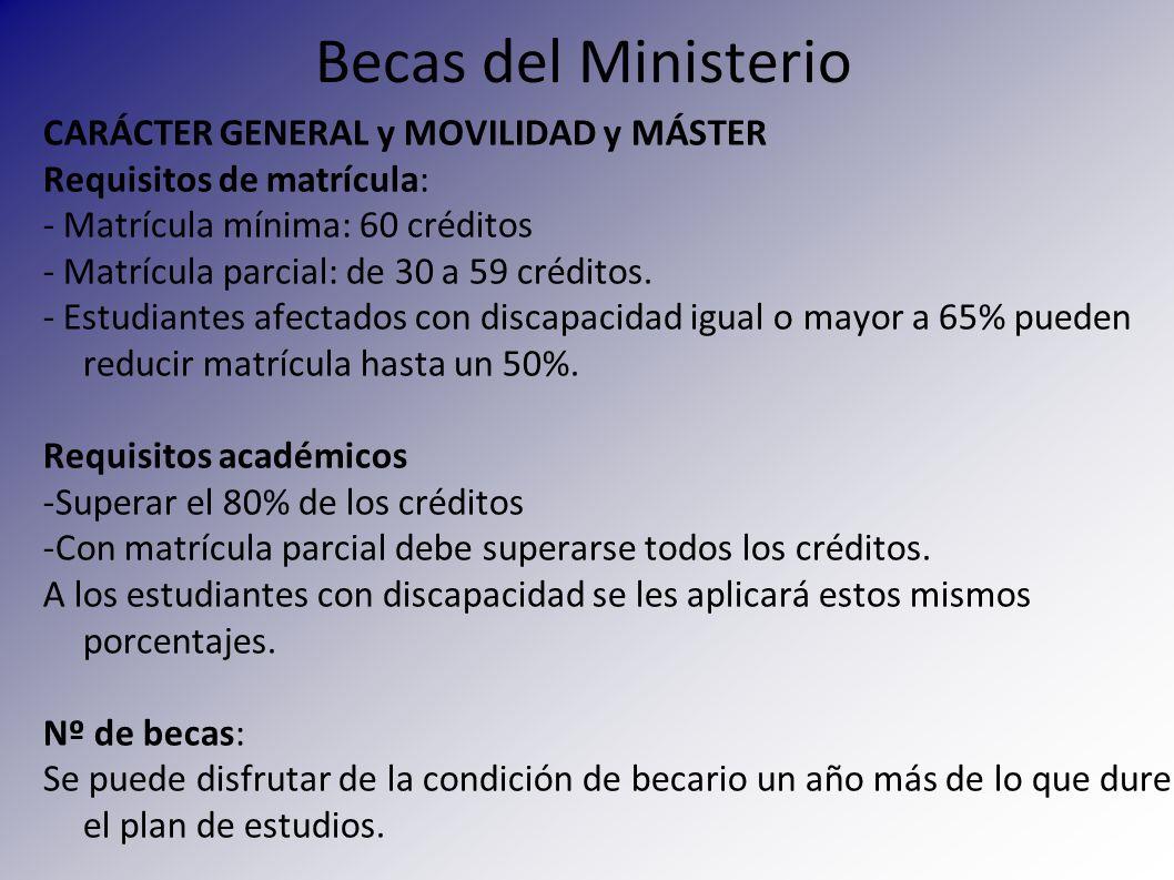 Becas del Ministerio CARÁCTER GENERAL y MOVILIDAD y MÁSTER