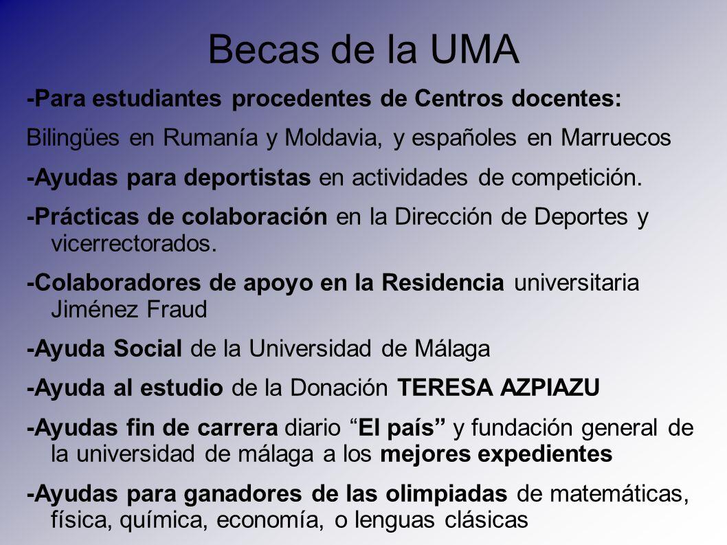 Becas de la UMA -Para estudiantes procedentes de Centros docentes: