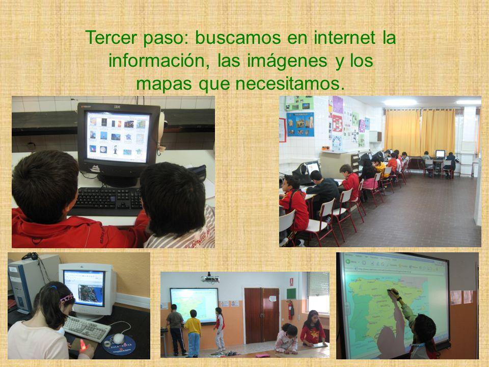 Tercer paso: buscamos en internet la información, las imágenes y los mapas que necesitamos.