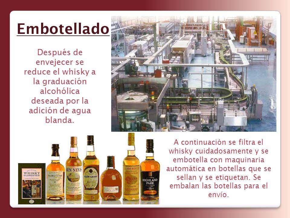 Embotellado Después de envejecer se reduce el whisky a la graduación alcohólica deseada por la adición de agua blanda.