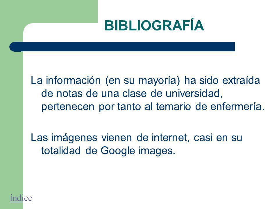 BIBLIOGRAFÍA La información (en su mayoría) ha sido extraída de notas de una clase de universidad, pertenecen por tanto al temario de enfermería.
