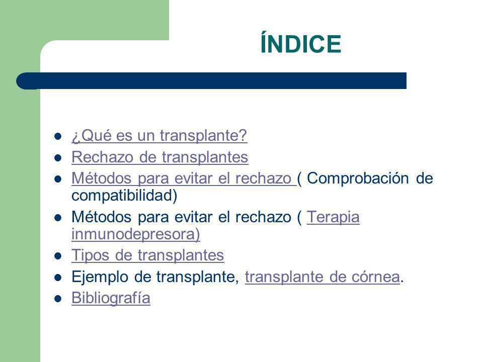 ÍNDICE ¿Qué es un transplante Rechazo de transplantes